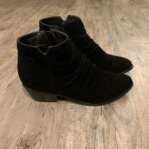 Black velvety booties